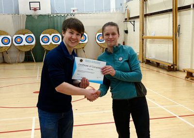 Addy Presenting Amy Ward With Beginners Certificate Bowmen Of Danesfield 001