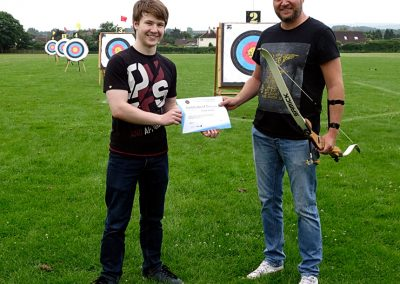 Addy Presenting Michael McCahill With Beginners Certificate Bowmen Of Danesfield 001