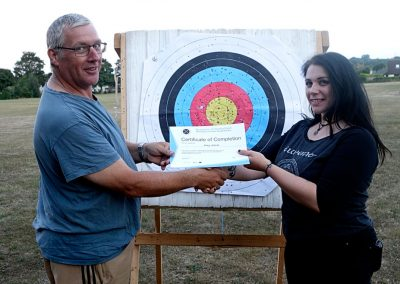 Kevin Presenting Amy Jeanesr With Archery Beginners Course Certificate 001