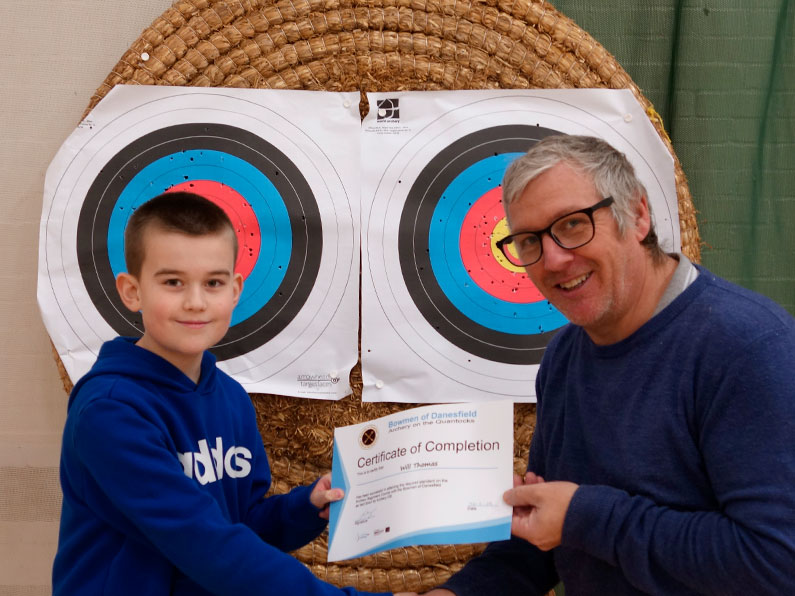 Will has passed his archery beginners course - Bowmen of Danesfield