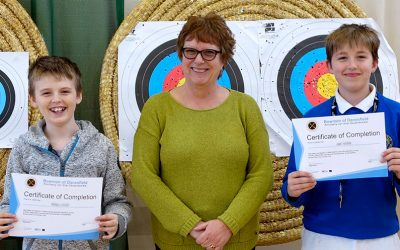 Riley and Jed have passed the Archery Beginners Course