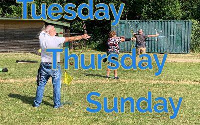 Thursday Tuesday Sunday Archery